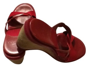 Hogan Leather Sole Satin Red Wedges