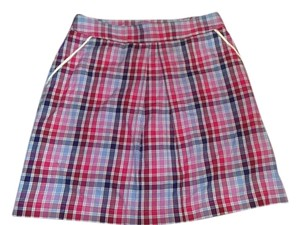 Peter Millar Size 4 Skirt Red, pink, white and blue plaid