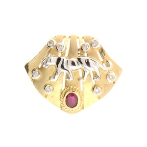 Bellarri STEAL-14k gold Bellarri ruby & diamond panther pendant