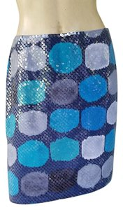 Ann Taylor Sequin Turquoise Skirt Teal and Black