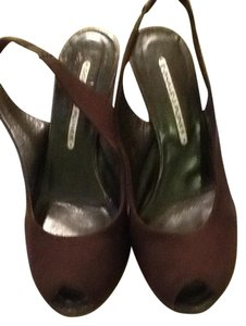 Donald J. Pliner Suede Fabric Leather Sole Chocolate Wedges