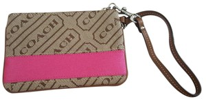 Coach Couch tan and pink wristlet
