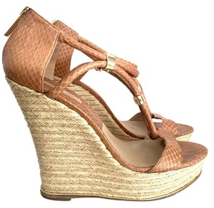 Michael Kors Platform Gold Trim Genuine Snakeskin Tan Snakeskin Wedges