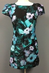 MILLY Floral Cotton Short Sleeve Lined Chloe 944 A Dress