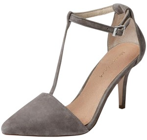 Maiden Lane T-strap Suede New Grey Pumps