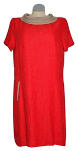 Hobbs London Work Wear Linen Orange Red Dress
