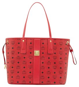 MCM Visetos Shopper Tote in Red