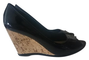Attention Wedge Cork Heel Peep Toe Faux Black Patent Pumps