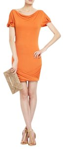BCBGMAXAZRIA short dress Orange Cowl Neck Drape Back on Tradesy