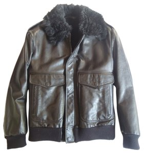 Gucci Black Leather Shearling Leather Jacket