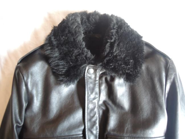 Gucci Black Leather Shearling Bomber Leather Jacket