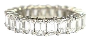 Fine,Emerald,Cut,Diamond,Shared,Prong,Eternity,Band,Ring,Wg,3.70ct,Sz6.5