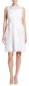 Halogen Eyelet Striped Pleated Fit And Flare White Dress