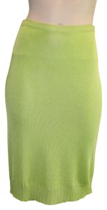 Versace Slim Ruffle Fitted Skirt LIME GREEN