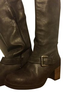 Type Z Leather Otk Distressed Metallic Hardware Gray Boots