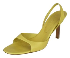 Céline Leather Slingback Open Toe Heels YELLOW Sandals