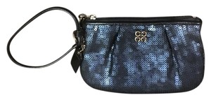 Coach Sequin Leather Wristlet in Navy