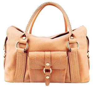 Céline Pebbled Leather Whipstitch Contrast Stitching Satchel in Tan/Camel