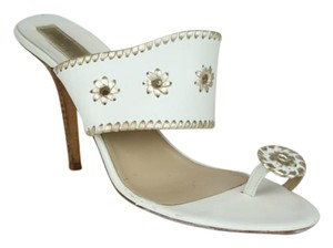 Michael Kors Silver Metalic Leather Woven White and Gold Sandals
