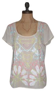 Anthropologie Sheer Ruffle Floral Sequin Embellished Top IVORY
