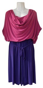 Avenue short dress pink, purple Cowl Short Sleeve Belt Loop on Tradesy