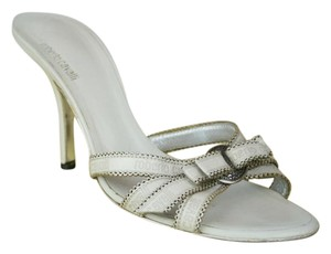 Roberto Cavalli Leather Strappy High Heels Logo WHITE Sandals
