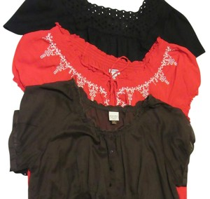 Kim Rogers, Sonoma, Old Navy Peasant Lightweight 1x Xxl 2x Top red, black, brown