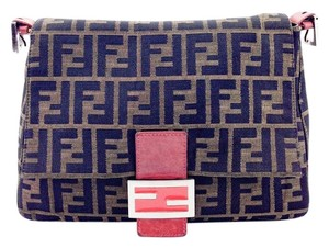Fendi Mamma Forever Zucca Canvas Leather Shoulder Bag