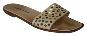 Manolo Blahnik Leather Slides Grommet BEIGE Flats