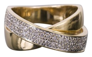 MADE GOLD 14k Yellow Gold Diamond Crossover Ring .50CTW