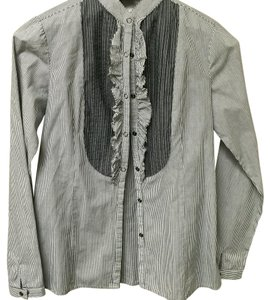 Romeo & Juliet Couture Button Down Shirt Bluish gray stripes