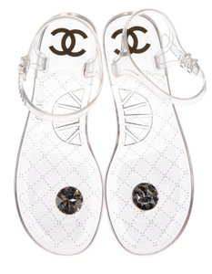 Chanel Transparent Rubber Crystal Adornment Cc Tab Closure Clear, Black Sandals