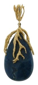 Other MUST SEE GORGEOUS - 14k yellow gold azurite organic pendant