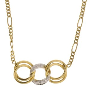 Other GORGEOUS - 18k yellow gold diamond 3 ring figaro necklace