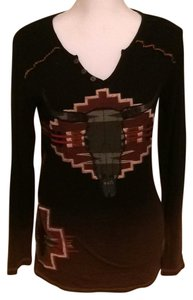 Double D Ranchwear Soft Knit Embroidered V-neck Longsleeve T Shirt Brown & Black