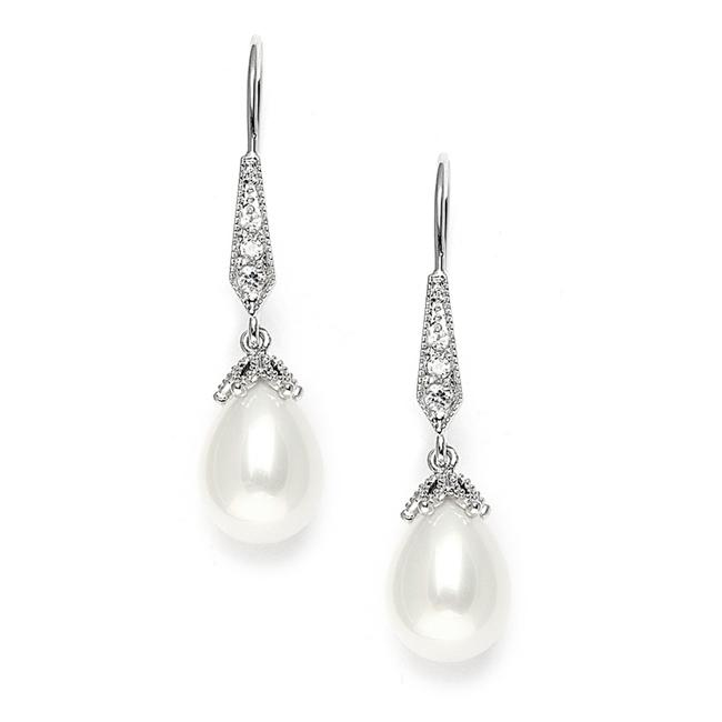 Item - Silver Vintage French Wire with Pearl Teardrops with Cz Pav Earrings