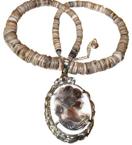 Pretty Shell Beaded Necklace with Shell Cameo Pendant