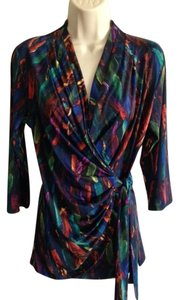 Carmen Marc Valvo Top Blue Multi colored