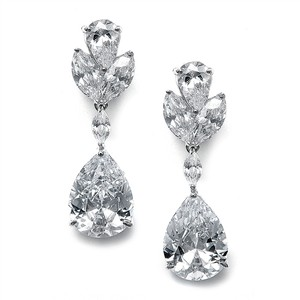 Mariell Large Pear Shaped Cubic Zirconia Drop Earrings 301e