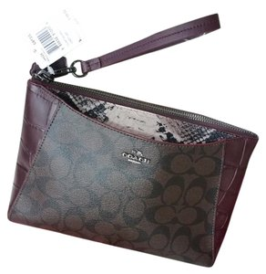 Coach Leather Clutch Wristlet in Brown/Oxblood