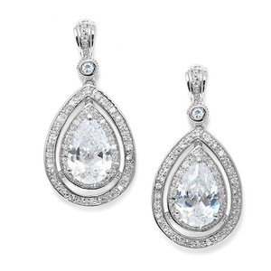 Mariell Silver Bold Vintage Cubic Zirconia Pear Shaped 3518e Earrings