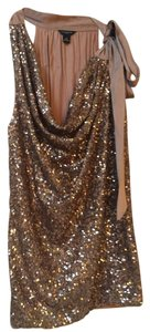 Ann Taylor Sequin Bow Top Bronze/beige