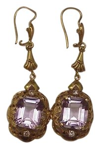 Art Deco 18k YG Natural 12.25carats Amethyst Diamonds Dangle Earrings
