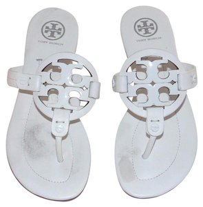 Tory Burch Miller Leather Thong Big Logo White Sandals