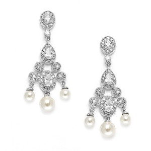 Mariell Cubic Zirconia Bridal Chandelier With Pearl Drops 3601e