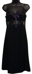 Laundry by Shelli Segal short dress Black/ Purple Slip Vintage Embroidered Slip on Tradesy