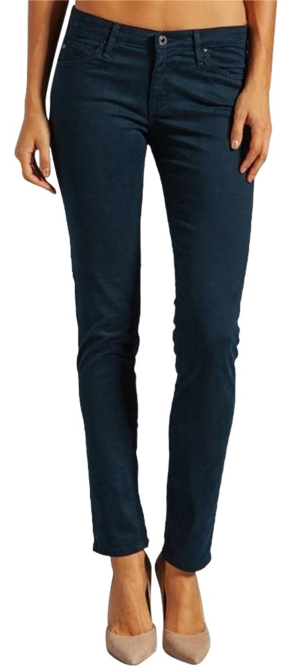 82eee34a AG Adriano Goldschmied Dark Navy/Teal Rinse Stilt Cotton Sateen Blue Skinny  Jeans