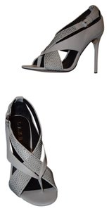 L.A.M.B. Leather Light Gray Sandals