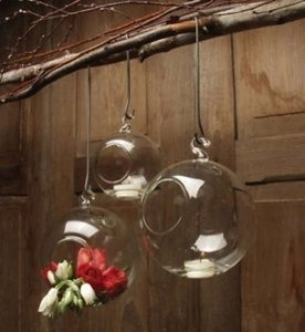 Clear Crystal Glass Hanging Bubbles Tea Light Holders Set 6 Unity Candle