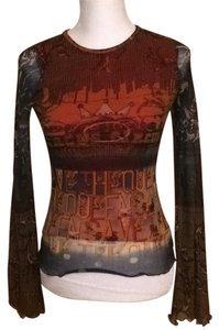 Save The Queen Flare Sleeve Top Red multicolor